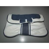 Bolso de Mano Blanco y Azul con Lazo