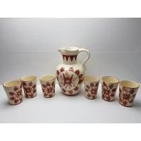 Conjunto Jarron y Vasos Ceramica