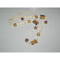 Collar Bisuteria Piedras Marrones y Cristales