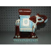Figura Ceramica Elefante Marron y Azul