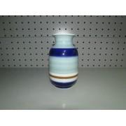 Jarron Ceramica Brillo Rayas Azules