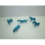 Lote 5 Figuras Porcelana China Caballitos Azul